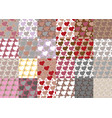 set of twenty four hearts seamless patterns set vector image vector image