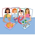 Slumber Party With Four Cute Girls Friends vector image vector image