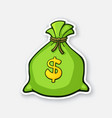 sticker green bank bag with dollar sign vector image