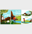 summer posters set - tourist people vector image vector image