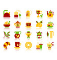 tea simple flat color icons set vector image vector image