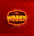 the winner banner with glowing lamps on red vector image vector image