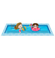 two girls playing in the swimming pool vector image
