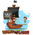 walk plank font banner with pirate cartoon vector image