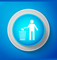 white man throwing trash into dust bin icon vector image