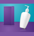 white shampoo pump bottle with paper box vector image vector image