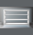 white showcase with shelves in shop or gallery vector image vector image