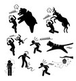 wild animal attacking hurting human stick figure vector image