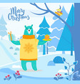 winter landscape and animal with present vector image vector image
