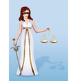 Woman Femida goddess of justice with scales and s
