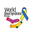 world down syndrome day multicolored socks vector image vector image