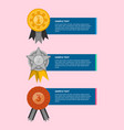 golden silver and bronze medals with ribbons vector image