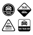 Taxi cab set black buttons vector image