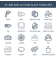 16 slice icons vector image vector image