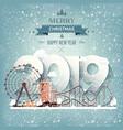 2019 roller coasterwinter urban landscape city vector image vector image