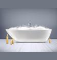bathtub with foam 3d vector image vector image