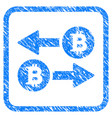 bitcoin transaction arrows framed stamp vector image vector image