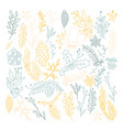 blue and beige leaves seamless pattern vector image vector image