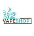 blue vape shop emblem vector image