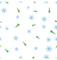 bottles of champagne and snowflake seamless vector image
