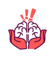 brain in hands with exclamation mark above vector image vector image