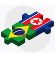 Brazil and Korea-North Flags vector image