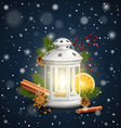 Christmas Lantern with Spices in Snowfall on Dark vector image