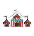 circus tent tops stripes flag on top vector image