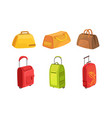 collection suitcases set leather textile and vector image vector image