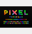 colorful pixel font - video game style trendy vector image