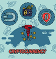 cryptocurrency flat concept icons vector image vector image
