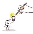 drawing big hand - cartoon businessman with light vector image