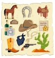 elements wild west cactus revolver hat vector image