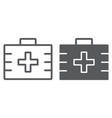 first aid kit line and glyph icon health vector image vector image