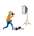 flat man and photo equipment set vector image
