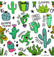 funny seamless pattern of cactus characters vector image vector image