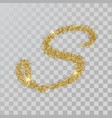 gold glitter powder letter s in hand painted style vector image