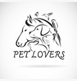 group of pets - horse dog cat humming bird parrot vector image vector image