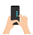 hand holding smartphone with quick tutorial vector image
