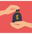 hands with money sack vector image vector image