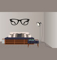 interior mockup in hipster style floor lamp loft vector image vector image