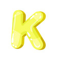 k yellow glossy bright english letter kids font vector image vector image