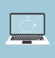 laptop notebook wiht piggy bank icon concept vector image