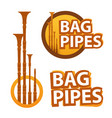 logo with bagpipes on white and black vector image vector image