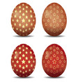 multi-colored easter eggs with gold stars pattern vector image