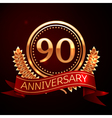 Ninety years anniversary celebration with golden vector image vector image