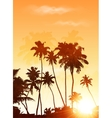 Orange sunset palms silhouettes poster background vector image