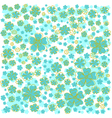 Pattern with yellow lined and blue colored flowers vector image