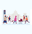 people walking on safe crosswalk in city vector image vector image
