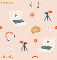 podcast seamless pattern background vector image